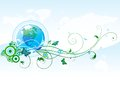 World spring vector abstract background with globe and floral elements Royalty Free Stock Photo