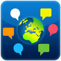 World talk icon present and colorful talking bubbles Stock Image