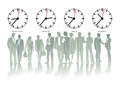 World time zones with corresponding times in new york berlin tokyo and sydney with silhouettes of business people below Royalty Free Stock Photos