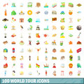 100 world tour icons set, cartoon style