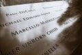 World Trade Center Memorial at Ground Zero, Manhattan. Close up of the bronze parapet. Royalty Free Stock Photo