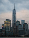World trade center at sunset freedom tower from river Royalty Free Stock Images