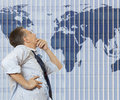 World trade organization businessman looking to map Stock Image