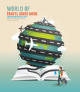 World travel design open book guide concept vector illustration.