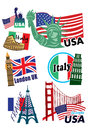 World travel icon set worldwide city landmark Stock Photography