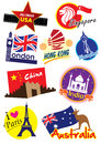 World travel icon set worldwide city landmark Royalty Free Stock Images