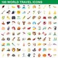 100 world travel icons set, cartoon style
