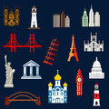 World travel landmarks flat icons with statue of liberty eiffel and pisa towers big ben ancient temples orthodox church usa Royalty Free Stock Photo