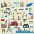 World travel and landmarks illustrations of travelling various famous from all over the Stock Photos