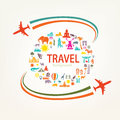 World travel, landmarks silhouettes icons