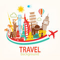 World travel, landmarks silhouettes icons set Royalty Free Stock Photo