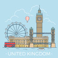 World travel in United Kingdom. Linear Flat vector Royalty Free Stock Photo
