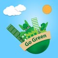 World with trees city and factory building on go green banner sk