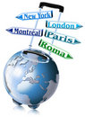 World trolley travel arrows Royalty Free Stock Photo