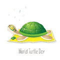 World Turtle Day. Illustration for the holiday. The character listens to music. Perfect for design greeting card Royalty Free Stock Photo