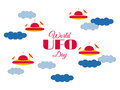 World UFO Day. Paper clouds and flying saucer UFO in the clouds. Flying saucer. UFO icon vector Royalty Free Stock Photo