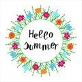 Vector illustration: Hand drawn lettering composition of Hello Summer. Flower frame Handwritten calligraphy design