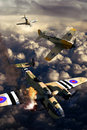 World War II aerial fight Royalty Free Stock Photos