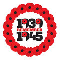 World War II commemorative symbol with dates, poppies