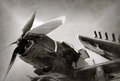 World war ii era fighter plane navy with folded wings Stock Photography