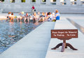 World war ii memorial washington dc tourists bathing feet by sign warning against disrespecting is a national dedicated to Royalty Free Stock Photography
