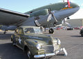 World war ii military display curtiss wright c commando aircraft and chrysler staff car on at the warbirds over monroe air show in Stock Photos