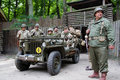 World War II US Army soldiers with Willys Royalty Free Stock Image