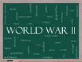 World war ii word cloud concept on a blackboard with great terms such as guns axis allies victory and more Royalty Free Stock Photography
