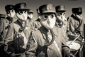 World War 2 Marching Band with Gas Masks Royalty Free Stock Photo