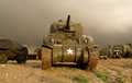 World war two sherman tank in a bad weather Royalty Free Stock Image