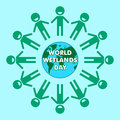 World wetlands day cartoon design illustration, campaign asset for use on social media