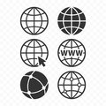 World wide web concept globe icon set. Planet web symbol set. Globe icons