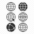 World wide web concept globe icon set. Planet web symbol set. Globe icons Royalty Free Stock Photo