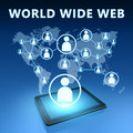 World wide web illustration with tablet computer on blue background Stock Images