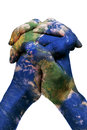 The world in your hands (Earth map furnished by NASA) Royalty Free Stock Photo