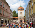 World Youth Day 2016. Pilgrims at Florian's Gate Royalty Free Stock Photo