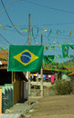 Worldcup decoration for the on the streets of a small city in brazil Stock Images