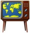 Worldmap on television screen
