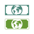 Worlds money. Banknotes with planet Earth. Future of cash with p Royalty Free Stock Photo