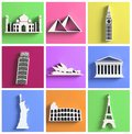 Worlds most famous landmarks Stock Photography