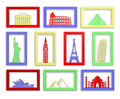 Worlds most famous landmarks in frames Stock Photos