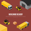 Worldwide delivery isometric concept