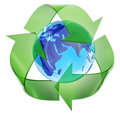 Worldwide environment protection recycling symbol encompassing the planet earth Stock Photo