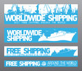 Worldwide free shipping banners. Stock Photo