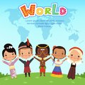 Worldwide kids of different nationalities standing on the earth. Concept vector illustrations