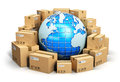 Worldwide shipping concept creative abstract global logistics and delivery business blue earth planet globe surrounded by heap of Royalty Free Stock Photo