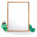 A worm at the back of an empty whiteboard illustration on white background Stock Photos