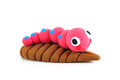 Worm craft toy isolated white Royalty Free Stock Photography