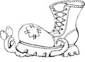 A Worm Crushed By A Shoe. Vector