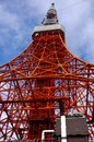 Worm eye view of tokyo tower shot shooting from the base Stock Photography